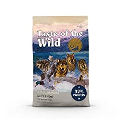 Taste of the Wild wetlands with roasted Fowl; real Duck is the #1 ingredient; optimal amino acid profile, protein rich for LEAN, STRONG MUSCLES High protein ingredients with added vitamins & minerals; fruits and vegetables as SUPERFOODS for hard-work...