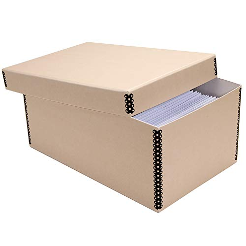 Lineco Tan Photo Snapshot Photo, Card, File Box with Removable Lid 4'x6'x12'. Bulk Storage of Negatives, Prints, Films. Museum Level Archival Storage Box. Protects Photos & Negative.