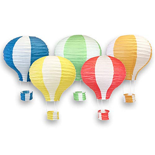 Just Artifacts Assorted 12-Inch Hot Air Balloon Paper Lanterns (5pcs, Red/Yellow/Blue/Green/Orange)