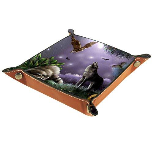 Leder Valet Tray, Würfel Tray Folding Square Holder, Kommode Organizer Platte für Wechsel Münzschlüssel Dachs Wolf Owl