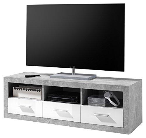Stella Trading Lowboard TV Möbel weiß glanz, Beton Dekor, BxHxT 147x48,5x45 cm