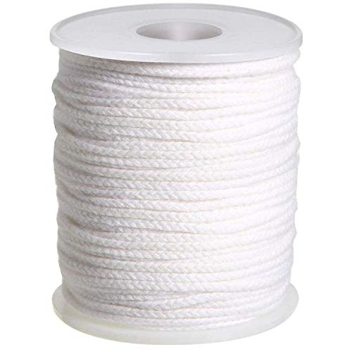200 ft Braided Candle Wicks 100% Cotton 10 Inch 42 Ply for Candle Pillars in 4 3/8'' Dia, 200 PCS Candle Wick Sustainer Tabs Metal 14mm for Paraffin Wax Soy Beeswax Candle Making, Sold Separately
