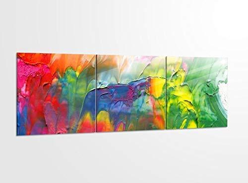 Acrylglasbilder 3 Teilig 150x50cm abstrakte Kunst Malerei Farben_ Acrylbild Bilder Acrylglas Wand Bild Kunstdruck 14?5321, Acrylglas Größe 6:BxH Gesamt 150cmx50cm