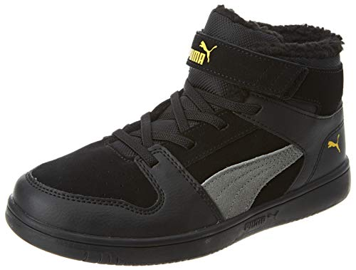 Puma Unisex-Kinder Rebound Layup Fur Sd V Ps Sneaker, Black-Ultra Gray-Super Lemon, 35 EU