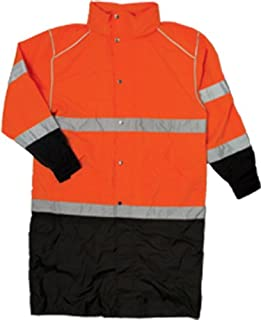 ML Kishigo RWJ109 Brilliant Series High-Viz Long Rain Coat, Fits Large and Extra Large, Orange