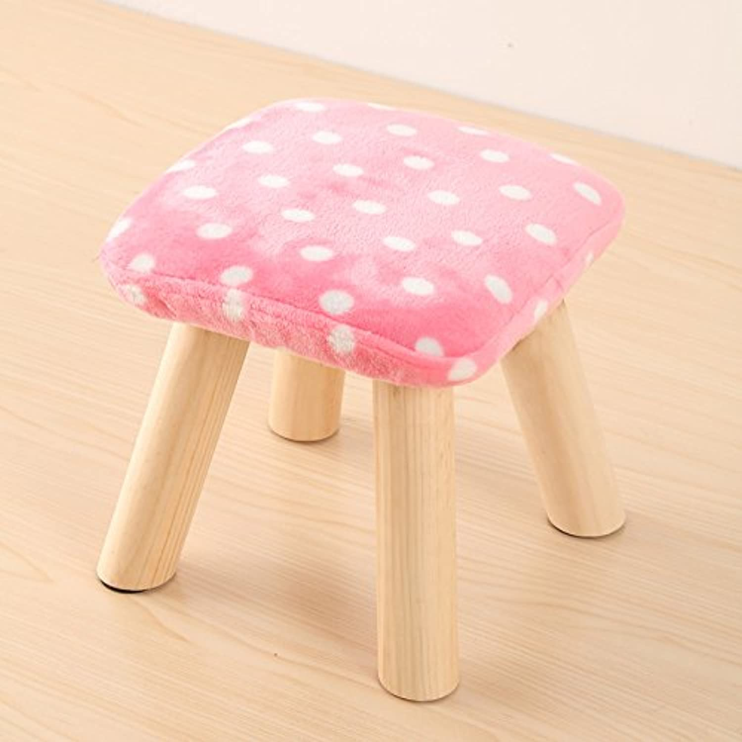 Solid Wood shoes Bench Creative Sofa Stool Fabric Stool Home Stool Heightening Stool Cute Cartoon Stool Flannel Stool 0522A (color   C, Size   L)