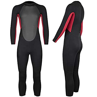 Nataly Osmann Kids Wetsuit 3mm Neoprene One Piece Full Long Sleeve Diving Suit UV Protection Short Sleeve Swimsuit for Boys Girls Junior Youth (New red, 12)
