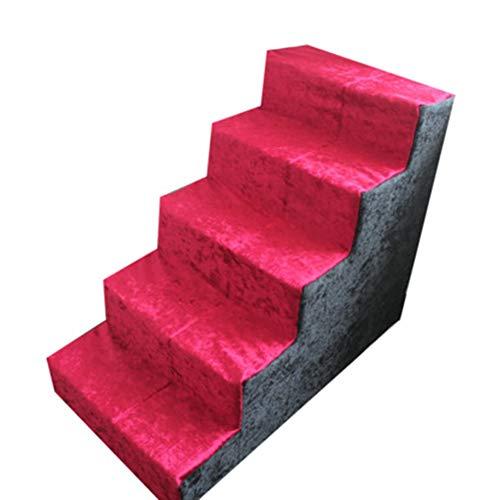 JLXJ Escaleras y escalones Escaleras para Mascotas 5 Pasos Rampa para Gatos para Perros Cama Alta Sofá Alto, Espuma Escalera De Esponja Cubierta Suave Lavable, Rojo, Alto: 60 Cm (24 Pulgadas)