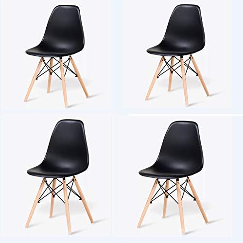 GroBKau 4er-Set Kunststoff Stuhl Retro Design Holz Stil Stuhl Seitenstuhl für Büro Lounge Esszimmer Küche, Schwarz