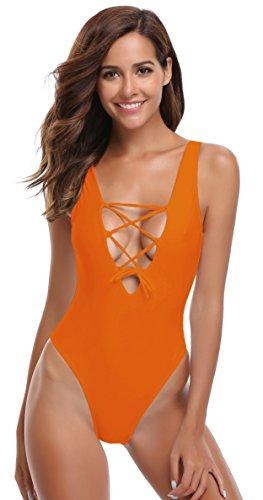 SHEKINI Damen Einteilige Badeanzügen Badeanzug Einstellbar Schnürungen Bikini Badebekleidung Badeanzüge Bandeau Bademode Schwimmanzug Sommer Strand (XL, Cruise Orange)