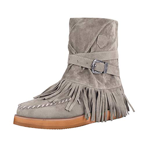 Dihope botas india para mujer, tacón plano, de plataforma, zapatos informales, modernos, con flecos, botines para la nieve e invierno marrón 38 EU