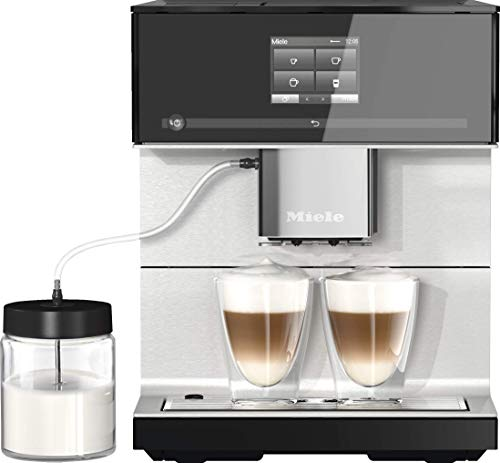 Miele CM 7350 Kaffeevollautomat (Smartphone bedienbar mit WiFiConnect, Kaffeemaschine für Bohnen, Pulver und Tee, automatisch einstellbaren Zentralauslauf) schwarz