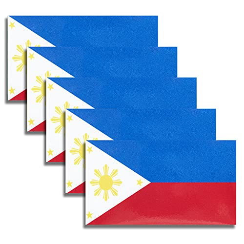HSQCEZ 5 Pcs Philippines Flag Vinyl Decal , Tactical Filipino Flag Decal Sticker, Filipino Stickers for Vehicles Car Window Bumper 2.5 x 4.5 Inch