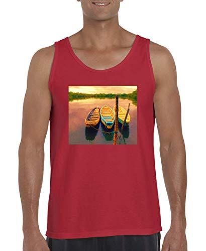 Druckerlebnis24 - Camiseta sin Mangas para Hombre y Hombre, diseño de Barcos Rojo XXXXXL