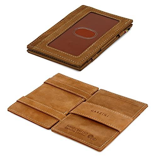 Portafoglio Garzini Magic in vera pelle sottile e minimalista da uomo con sistema di blocco RFID e tasca per carta d'identità, Camel Brown
