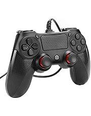 Powcan PS4 Controller bedrade controller voor Playstation 4 Dual Vibration Shock Joystick Gamepad voor PS4 / PS4 Slim / PS4 Pro en pc (Windows 7/8/10) met 2M lange USB-kabel, zwart