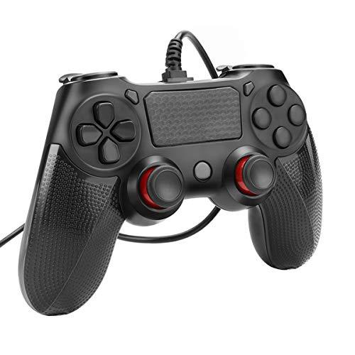 Controller Powcan PS4 Controller cablato per Playstation 4 Dual Vibration Shock Joystick Gamepad per PS4   PS4 Slim   PS4 Pro e PC (Windows 7 8 10) con cavo USB 2M lungo, nero (nero)