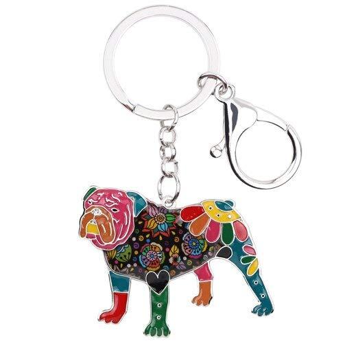 GPZEDCDB Porte-clés Émail Anglais Britannique Bulldog Bull Terrier Chien Porte-clés Bijoux De Mode pour Femmes Charme Sac Accessoires