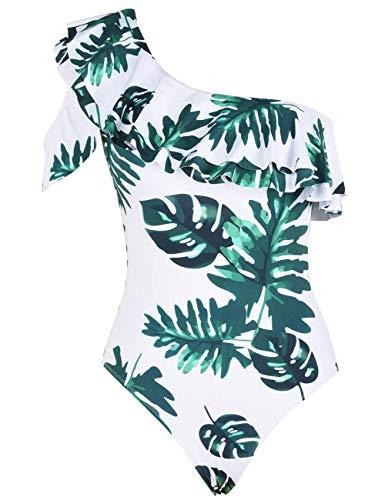 Hilor Women's One Shoulder Swimsuits One Piece Swimwear Ruffled Bathing Suits Monokini White&Green Leaves 12