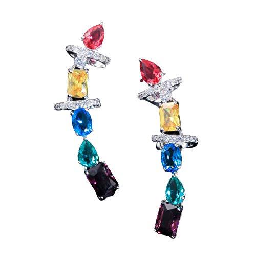 yqs Pendientes Hermoso Multicolor cúbico Zirconia Cristal Grande Largo Grueso Oreja puño Pendientes para la joyería de Las Mujeres