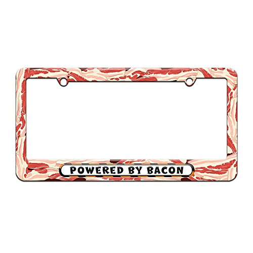 Graphics and More Powered by Bacon - License Plate Tag Frame - Bacon Design