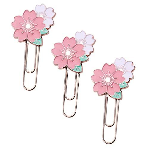 Cabilock 3 Piezas Clips de Papel Clips de Marcadores de Flores Clips de Notas de Papel Abrazaderas para Oficina Escuela Estudiantes Suministros Rosa