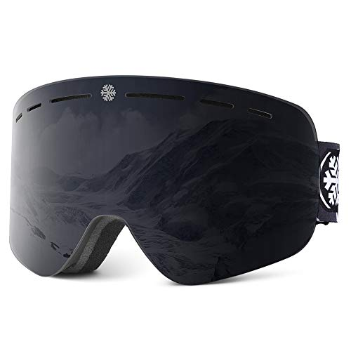 Snowledge Skibrille Damen Und Herren Ski Brille OTG Rahmenlos Wechselobjektive Doppellinse Anti-Fog UV400 Schutz Verspiegelt Snowboardbrille für Schutzbrille Wintersport Skifahren Windbrille