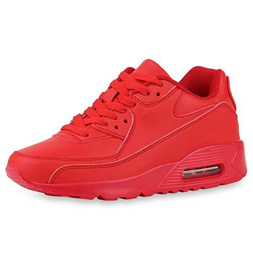 SCARPE VITA Damen Sportschuhe Laufschuhe Schnürer Freizeit Sneaker Leder-Optik Schuhe Modische Turnschuhe Profilsohle 185405 Red Rot 37