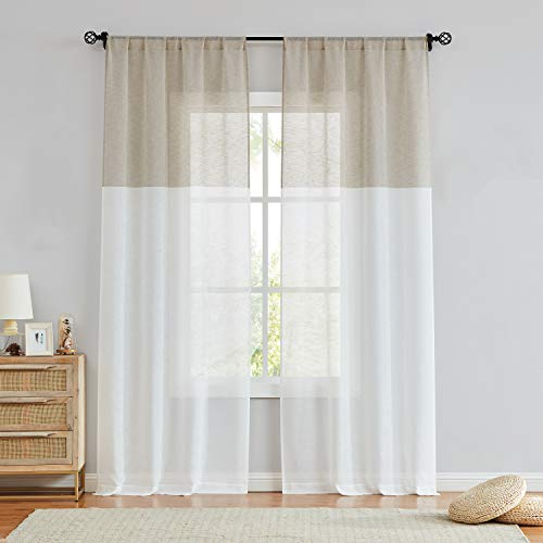 Central Park Tan and White Stripe Sheer Color Block Window Curtain Panel Pairs Linen Drape Treatment for Bedroom Living Room Farmhouse 84 inches Long with Rod Pocket,2 Panel Rustic Living Panels