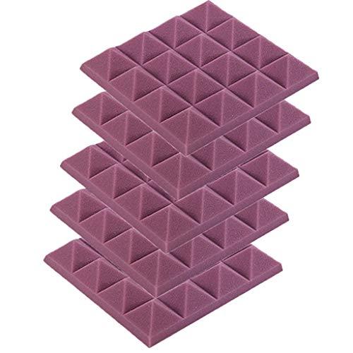 5PCS Akustikelemente Noppenschaumstoff Akustikschaumstoff Schwamm Breitbandabsorber Pyramide Isolierung Akustik Wand Schaumstoff Polsterung Studio Schaumstoff 25x25x5cm (Lila)