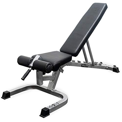 Valor Fitness DD Adjustable Flat, Incline, Decline Bench with Leg Support - 7 Position Back Pad, 4 Position Seat Pad