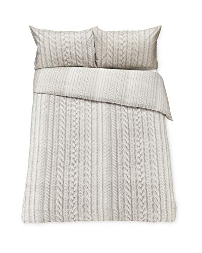 Kirkton House STONE KNIT CABLE LOOK DOUBLE DUVET COVER SET WITH PILLOWCASES, MACHINE WASHABLE