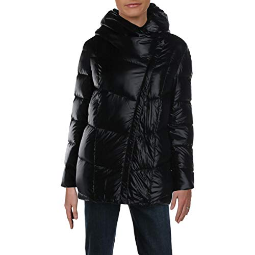 Donna Karan Womens Down Cold Weather Puffer Coat Black XL