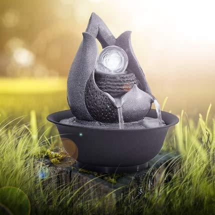 Knoijijuo Einfache geometrische Ornamente Wohnzimmer-Wasser-Brunnen Feng Shui Water Technology Craft-Schreibtisch-Oberfläche Brunnen Wasserfall Innen