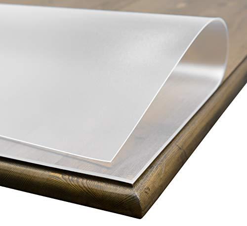 BEAUTEX Tischdecke Folie 2 mm transparent einseitig mattiert, Keine BLASENBILDUNG, Schutzfolie Tischschutz, Größe wählbar (90 x 180 cm)