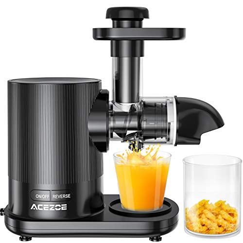 Slow Juicer, Acezoe Entsafter Gemüse und Obst mit 2 Filter, BPA-frei, Leistungsstarker Ruhiger Motor & Umkehrfunktion & Saftkanne & Reinigungsbürste, Anti-Oxidation Juicer, 150W