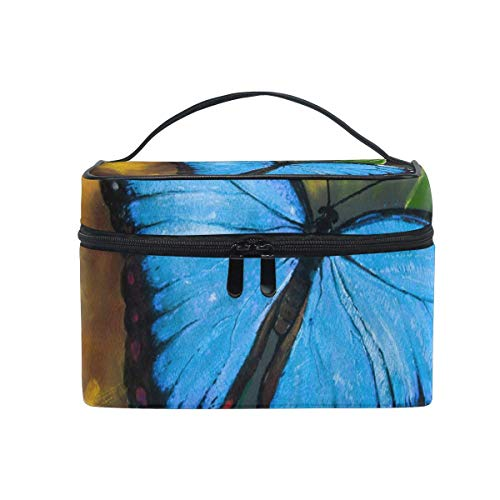 Huile de Papillon Paiting Cosmetic Bag Toiletry Travel Makeup Case Handle Pouch Multi-Function Organizer for Women
