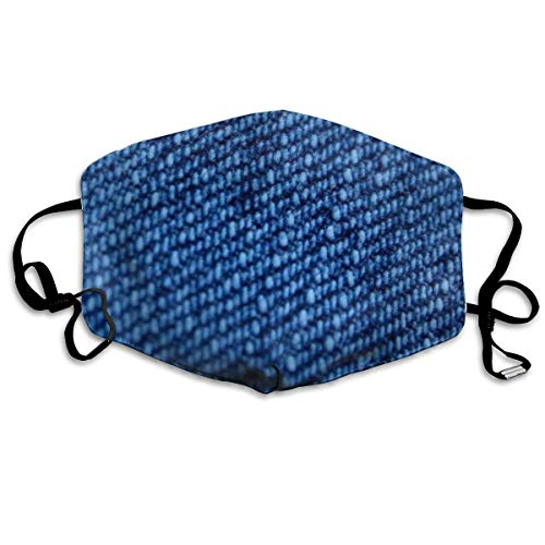 Blue Jeans Anti-stof-masker, herbruikbare outdoor-gezichtsafdekking met verstelbare oorhoesje, monddeksel, herbruikbaar