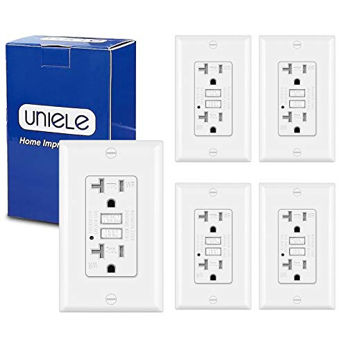 (5 Pack) UNIELE 20A Weather Resistant GFCI Receptacle Outlet, Ground Fault Circuit Interrupter Outdoor Outlets, Wallplate Included, White