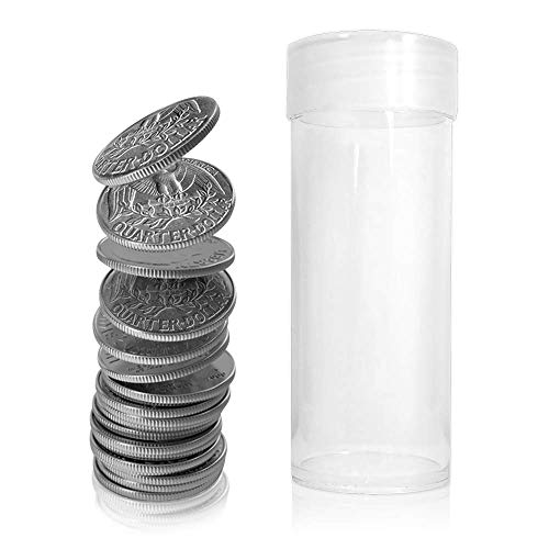 BCW Clear Quarter Coin Tubes with Screw-On Cap, Each holds 40 Quarters, 20-Tubes Total