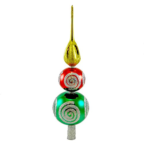 Larry Fraga Swirl Finial, Blown Glass, Christmas Tree Topper, Decorative Hanging Ornaments, 1016