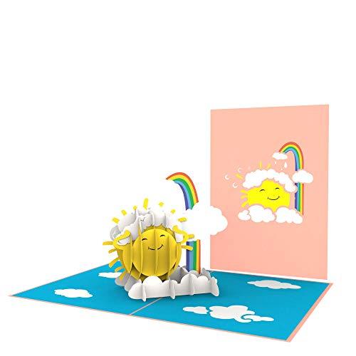 PrimePopUp | Sonne mit Regenbogen | 3D Pop Up Grußkarte | Gute Besserung | Viel Glück | Alles Gute | Gesundheit | Erfolg | Geburtstagskarte für Geldgeschenk oder als Gutschein