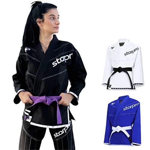 Starpro Kimono BJJ GI 350 Grammi in Miscela di Cotone. Kimono Professionale per Arti Marziali, Allenamento e Competizioni - Bianco, Blu e Nero - Uomini e Donne - A0 A1 A2 A3 A4 A5