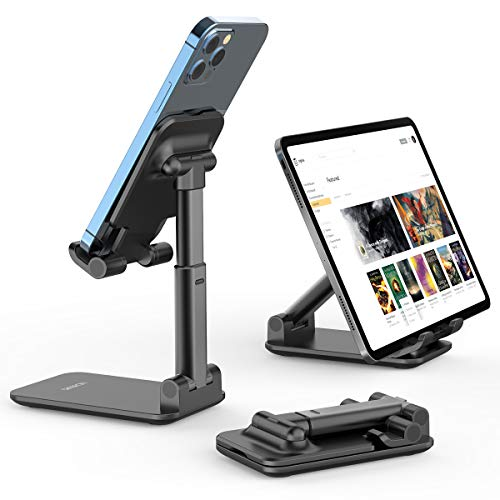"Cell Phone Stand, Licheers Foldable Phone Holder, Angle Height Adjustable Phone Stand for Desk, Compatible with 4""-7"" Devices (Black)"