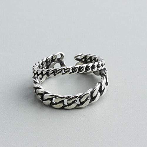 Verstelbare damesring van 925 sterling zilver, 925 sterling zilver, met dubbele ketting, voor dames en meisjes.