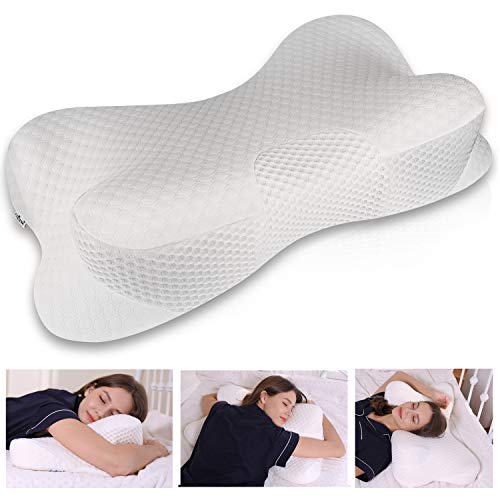 Coisum Stomach Sleeping Back Sleeping Cervical Pillow - Memory Foam Belly Sleeper Pillow for Neck and Shoulder Pain Relief - Orthopedic Ergonomic Pillow with Breathable Cover