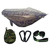 <span class='highlight'>YWCXMY</span>-<span class='highlight'>LDL</span> 1-2 Person Portable Outdoor Camping Hammock with Awning Mosquito Net High Strength Parachute Fabric Hanging Bed Hunting Swing (Color : 290X145cm Camouflage)