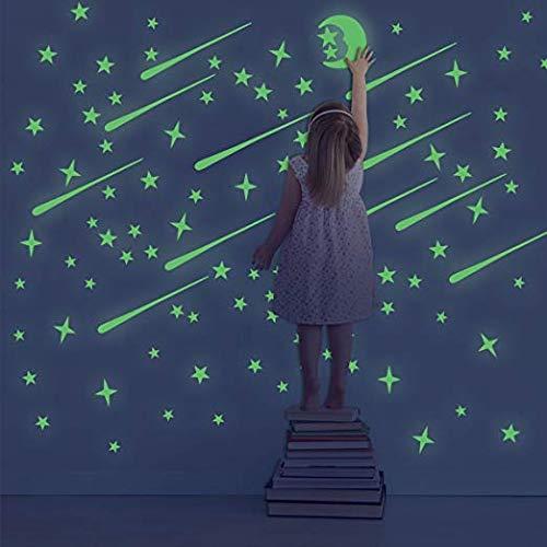 DreamKraft Vinyl Galaxy of Stars with Moon Wall Radium Night Sticker , Green