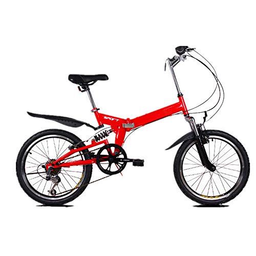 20 Pulgadas Bicicleta Pleggable Hombres Mujeres Bicicleta De Montaña Todo Terreno Para Adultos Asiento De Manillar Regolabile Bike Ligera Portátil Bicicleta Urbana Para Estudiantes,Rojo