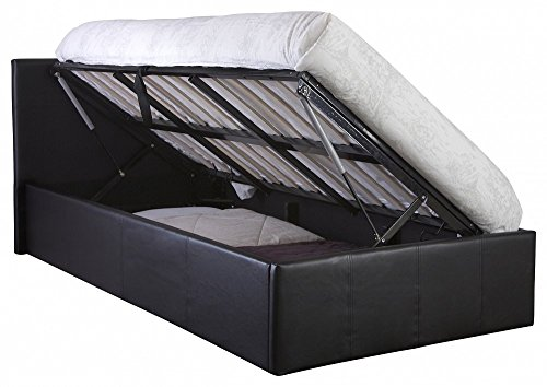 The Side Lift Ottoman Storage Bed (3ft Single, Black)